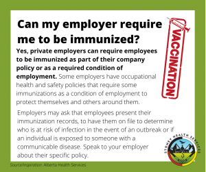 Can my employer require me to be immunized?