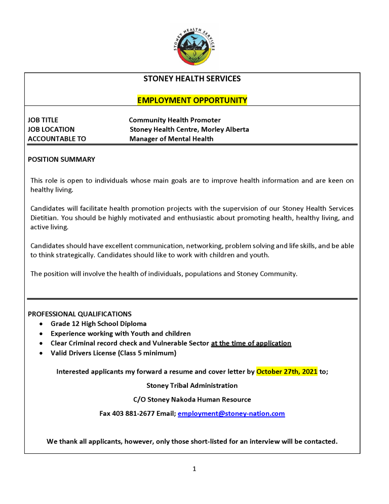 Community Health Promoter-September 2021