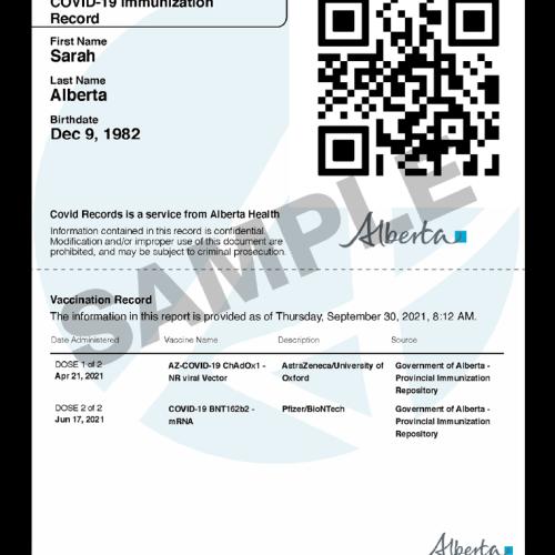SAMPLE - COVID Immunization Record